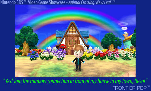 """Yes! Join the rainbow connection in front of my house in my town, Revo!"" - This is a Mii avatar enhanced character of me, in my Animal Crossing: New Leaf game on the Nintendo 3DS. This is my town, Revo, of which I am mayor, and I am standing in front of my house."
