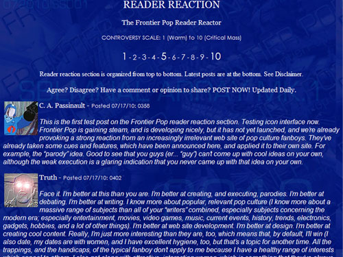 Frontier Pop reader reaction / reader reactor beta test screen, with test content.