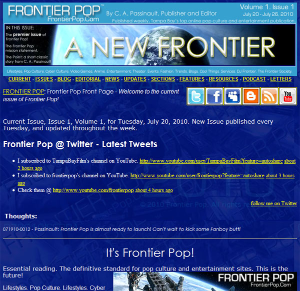 Pioneer Class prototype; the beta version of the new Pioneer Class Frontier Pop web site just before launch.